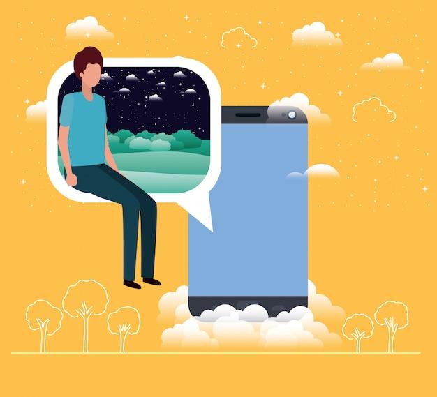 Smartphone avec garçon assis dans une bulle de dialogue