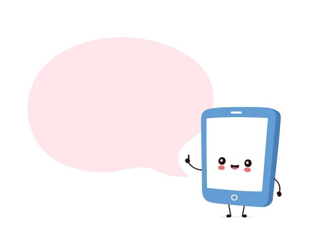Smartphone heureux avec bulle de dialogue
