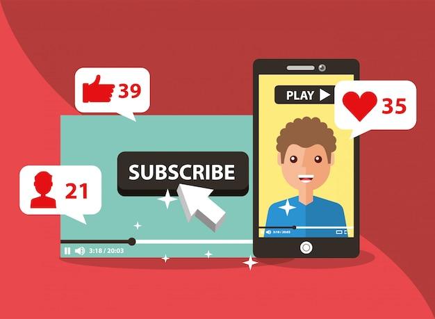 Smartphone avec homme à l'écran souscrire canal populaire