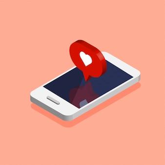 Smartphone avec l'icône de notification des médias sociaux dans un style isométrique branché. notification push avec likes. illustration isolée sur fond rose.