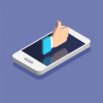 Smartphone avec l'icône de notifications de médias sociaux dans un style isométrique branché. notification push avec likes. illustration isolée sur fond de couleur.