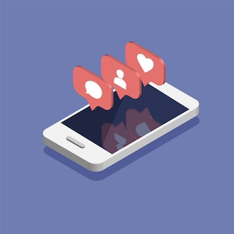 Smartphone avec l'icône de notifications de médias sociaux dans un style isométrique branché.