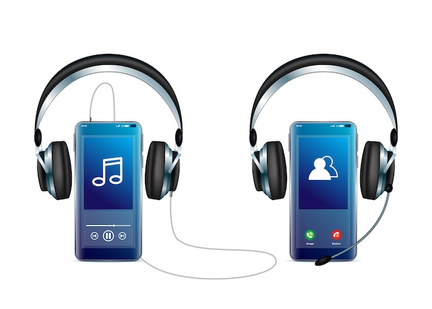 Smartphone avec icône de vecteur minimal de casque pour le web et mobile de la collection d'icônes de symétrie.