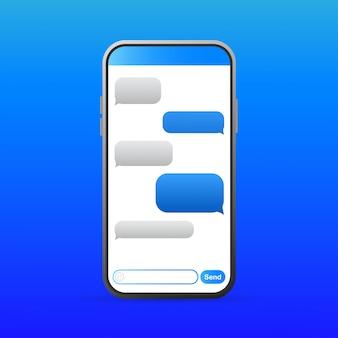Smartphone avec des icônes de bulles de message bleues pour le chat.