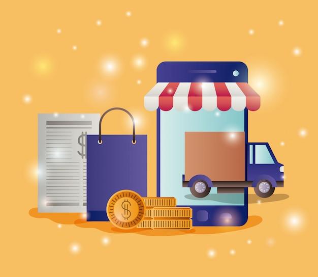 Smartphone avec icônes de commerce électronique parasol