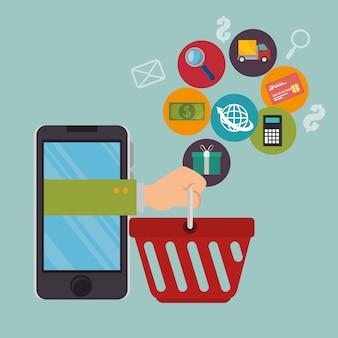 Smartphone avec des icônes de commerce électronique
