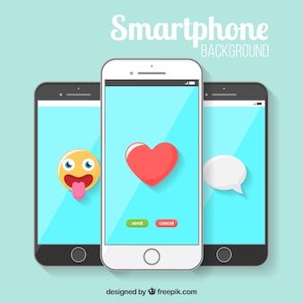 Smartphone avec des icônes de fond