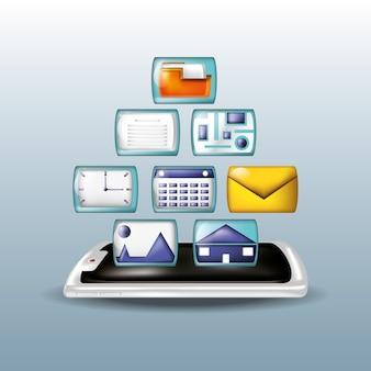 Smartphone avec des icônes de médias sociaux