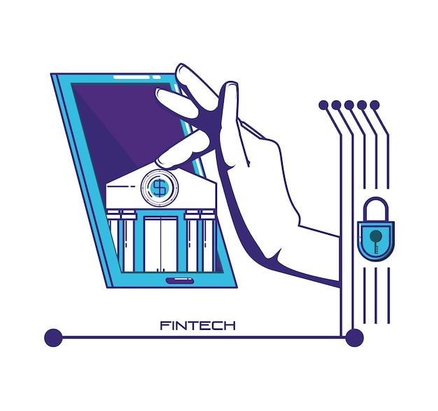 Smartphone avec des icônes de la technologie financière