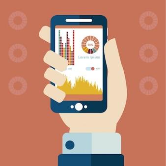 Smartphone avec infographies avec stats