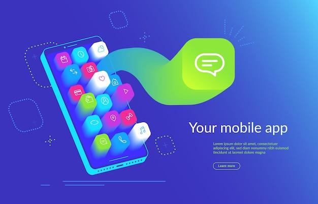 Smartphone isométrique avec application volant sur l'écran pour la présentation du produit. icône de messagerie mobile pour les médias sociaux, les messages et le chat. conception dynamique en dégradé pour la promotion, l'annonce et la page de destination
