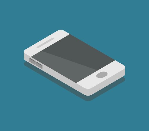 Smartphone isométrique sur bleu