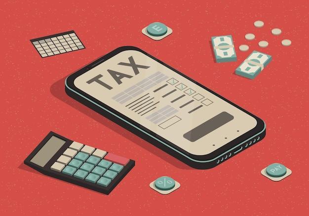 Smartphone isométrique avec formulaire fiscal en ligne