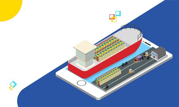 Smartphone isométrique avec système de suivi des expéditions.
