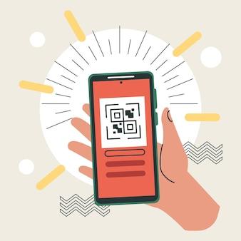 Smartphone de levage à la main avec code qr