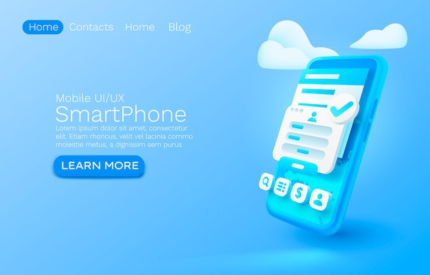 Smartphone login app bannière concept lieu pour l'accès au texte application en ligne autorisation service mobile vecteur