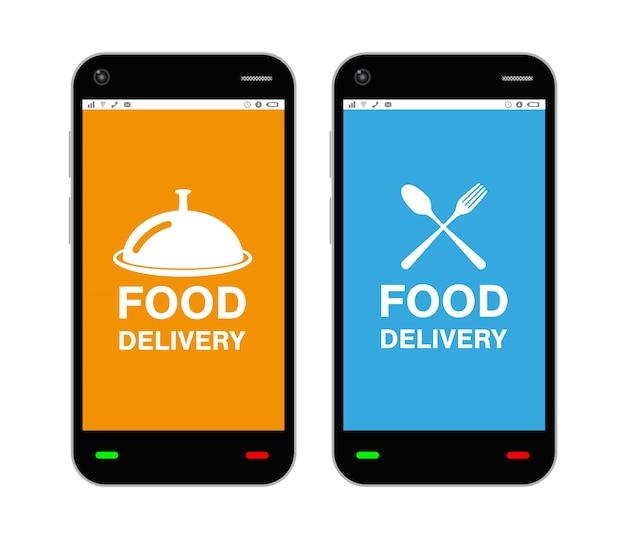 Smartphone avec le logo de l'application de livraison de nourriture à l'écran
