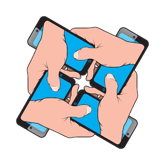 Smartphone en main depuis un autre smartphone