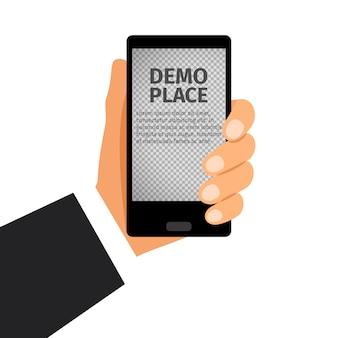 Smartphone à la main avec fond transparent