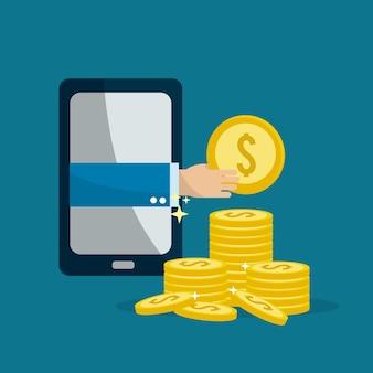Smartphone avec main à l'intérieur et pièces d'argent