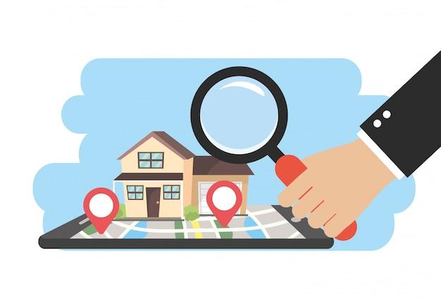 Smartphone avec maisons à vendre