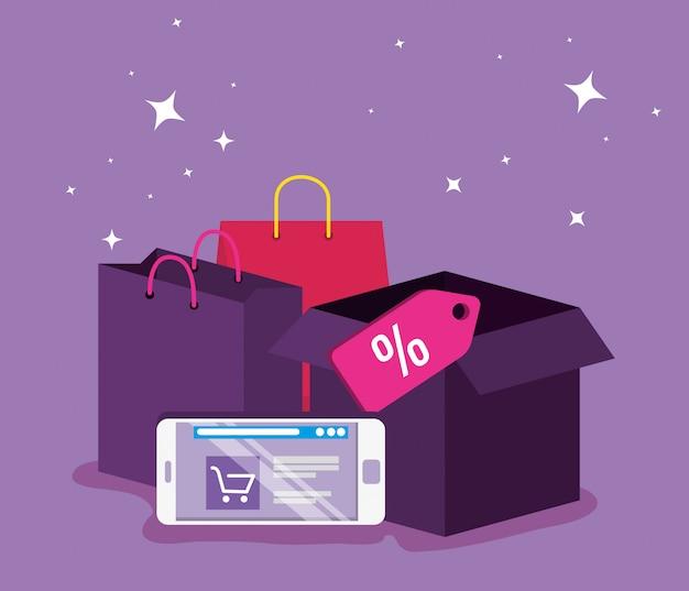 Smartphone marché aux achats en ligne