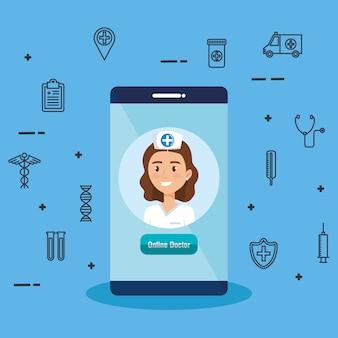 Smartphone avec médecin et icônes de télémédecine