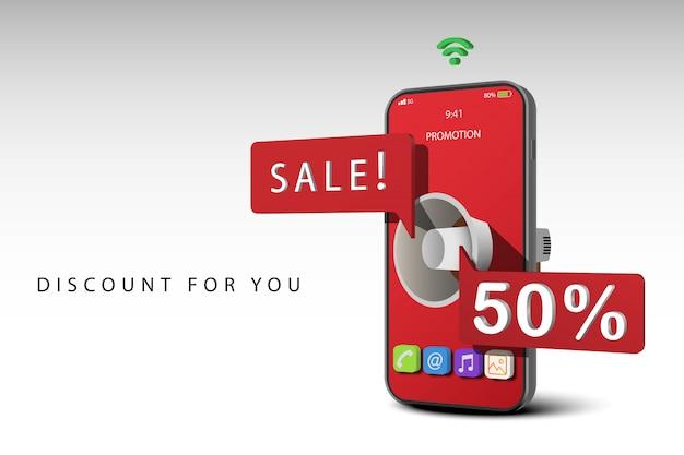 Smartphone avec mégaphone informer remise, bannière de vente