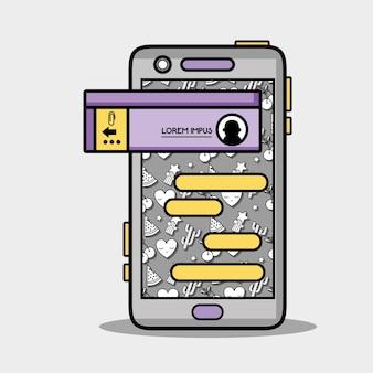 Smartphone avec le message de bulle de chat de whatsapp