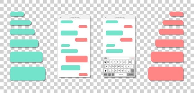 Smartphone avec des messages sur un fond transparent. bulles de message vides.