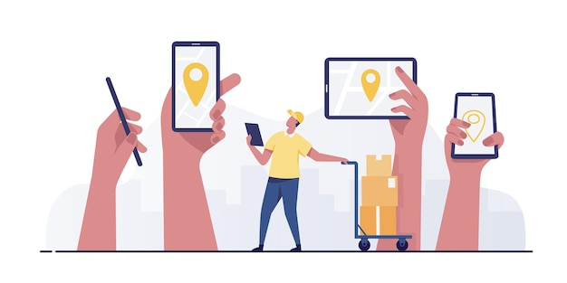 Smartphone mobile avec concept de service de livraison de broche de localisation.