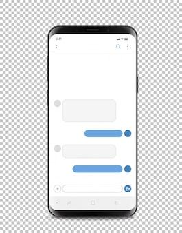 Smartphone moderne avec une interface de chat vide.