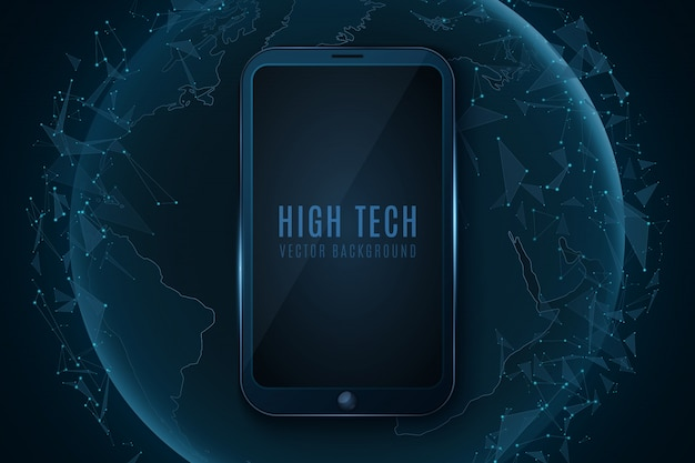 Smartphone moderne et monde global futuriste. planète terre abstraite et technologie moderne. triangles de plexus lumineux.