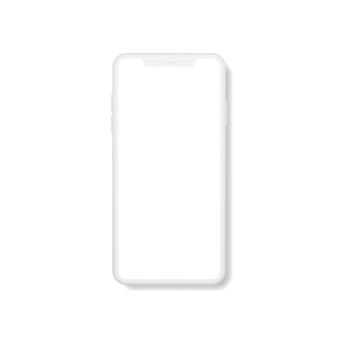 Smartphone moderne réaliste avec écran blanc.