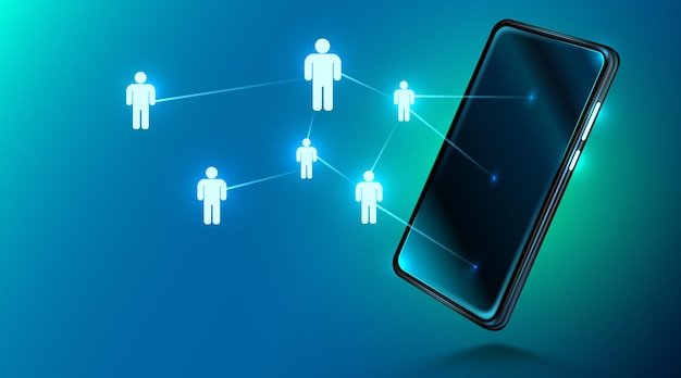 Smartphone moderne avec réseau social ou personnes de médias sociaux se connectant et travail d'équipe