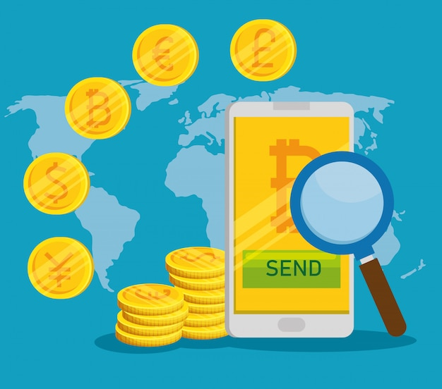 Smartphone avec monnaie numérique bitcoin et pièces internationales