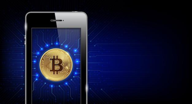 Smartphone avec la monnaie numérique de bitcoins d'or