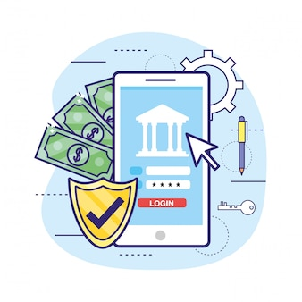Smartphone avec mot de passe bancaire et sécurité du bouclier