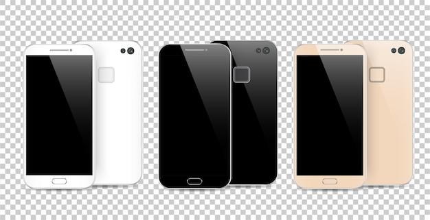 Smartphone noir, blanc et or moderne isolé sur fond transparent. avant et arrière