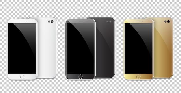 Smartphone noir, blanc et or moderne.