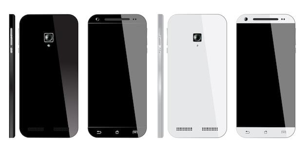 Smartphone noir et blanc réaliste