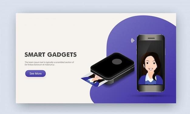 Smartphone nouvelle génération. page de destination du site web.