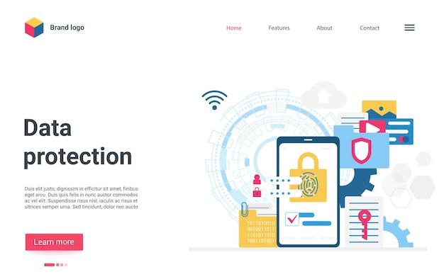 Smartphone de page de destination de protection des données avec verrou sur le service de sécurité internet de l'écran