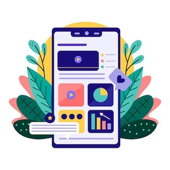 Smartphone et plantes marketing concept de téléphone mobile