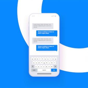 Smartphone réaliste avec clavier de saisie qwerty ouvert et simulation de chat. concept de messagerie. .