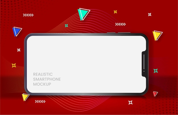 Smartphone réaliste sur fond rouge