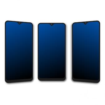 Smartphone réaliste avec trois positions. vecteur.