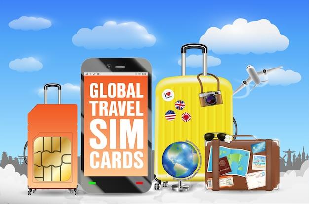 Smartphone avec sac de bagage de carte sim touristique