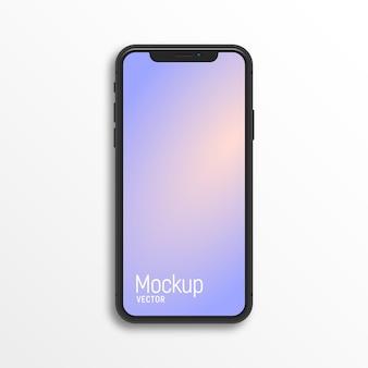 Smartphone sans cadre isolé sur une surface blanche