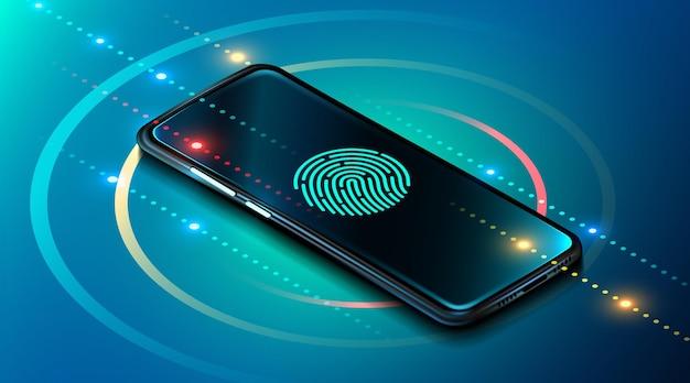 Smartphone de sécurité des données mobiles avec lecteur d'empreintes digitales